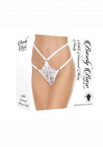 Barely Bare White Diamond Thong Panty - O/S - White