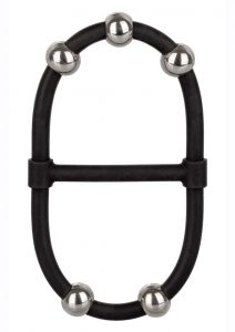 Steel Beaded Dual Silicone Maximizer Cock Ring - Black