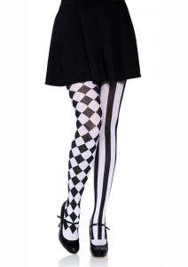 Leg Avenue Harlequin Pantyhose - O/S - Black/White