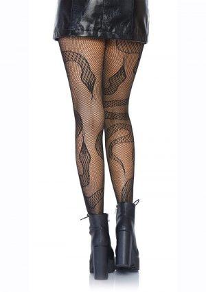 Leg Avenue Snake Net Tights - O/S - Black