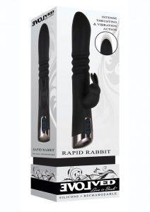 Rapid Rabbit Rechargeable Silicone Thrusting Rabbit Vibrator - Black
