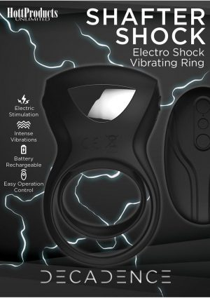 Decadence Shafter Shock Silicone Electro Shock Cock Ring With Remote Control - Black