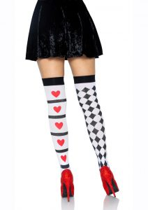 Leg Avenue Harlequin And Heart Thigh High - O/S - White/Red/Black