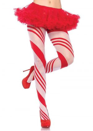 Leg Avenue Spandex Sheer Candy Striped Pantyhose - O/S - Red/White