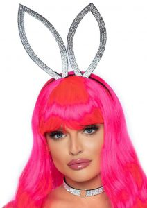 Leg Avenue Faux Rhinestone Bunny Ear Headband/ Heart Choker (2 Piece) - O/S - Silver