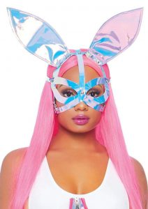 Leg Avenue Holographic Vinyl Bunny Ear Mask - O/S - Multicolor