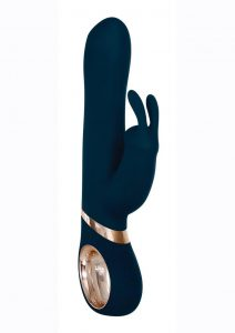 Adam andamp; Eve Eve`s Twirling Rabbit Vibrator Silicone Rechargeable With Remote Control - Navy/Gold