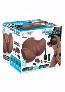 LuvDollz Remote Control Spread Eagle Vibrating Rechargeable Masturbator - Pussy and Ass - Mocha