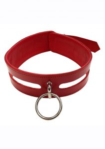 Rouge Leather Fashion Bondage Collar with O-ring - Red