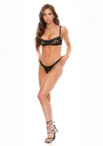 Barely Bare Demi Cup Bra And Panty Set - O/S - Black